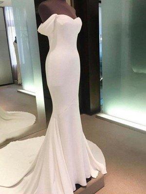 Short Sleeves Satin Sheath Court Train Off-the-Shoulder Wedding Dresses UK_4