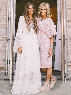 Floor-Length Lace A-Line Ribbon  V-Neck  Long Sleeves Wedding Dresses UK_4