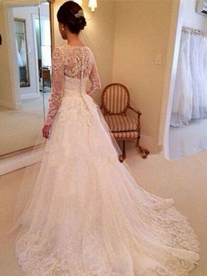 Tulle Cheap V-neck Ball Gown Long Sleeves Court Train Lace Wedding Dresses UK_3