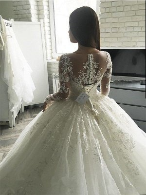 Applique Court Train Ball Gown Scoop Neckline Tulle Long Sleeves Wedding Dresses UK_3