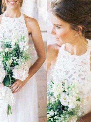 Floor-Length A-Line Ribbon Halter Tulle Sleeveless Wedding Dresses UK_3