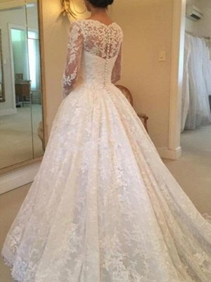 Ruffles Ball Gown Scoop Neckline Cathedral Train Lace Long Sleeves Wedding Dresses UK_3