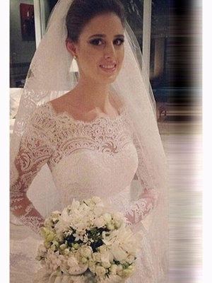 Scoop Neckline Sexy Mermaid Court Train Tulle Long Sleeves Lace Wedding Dresses UK_3