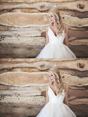 Spaghetti Straps Lace Organza A-Line  V-Neck Sleeveless Court Train Wedding Dresses UK_3