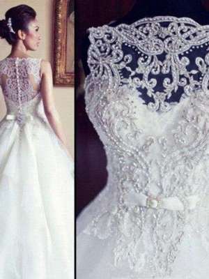 Lace Tulle A-Line Scoop Neckline Beads  Ribbon Applique Sleeveless Wedding Dresses UK_3