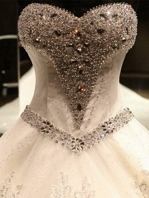 Sleeveless Applique Sequin Sweetheart Ball Gown Cathedral Train Tulle Wedding Dresses UK_4