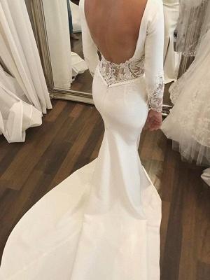 Lace Satin Long Sleeves Sexy Mermaid Scoop Neckline Court Train Wedding Dresses UK_4