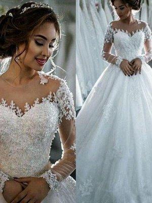 Scoop Neckline Applique Long Sleeves Ball Gown  Tulle Wedding Dresses UK_1