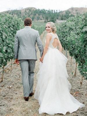 Sweep Train Sleeveless A-Line Tulle Straps Wedding Dresses UK_3