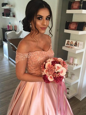 Satin Off-the-Shoulder Ball Gown Cathedral Train Sleeveless Ruffles Wedding Dresses UK_4