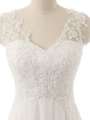 Sweep Train  A-Line Lace  V-Neck Sleeveless Wedding Dresses UK_3