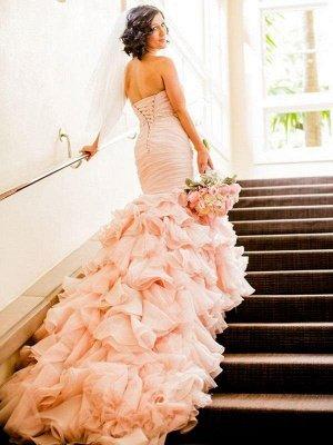 Court Train Organza Sexy Mermaid Sweetheart Sleeveless Ruffles Wedding Dresses UK_3