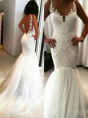 Applique  Sexy Mermaid Sleeveless  Tulle Cheap Spaghetti Straps Wedding Dresses UK_1