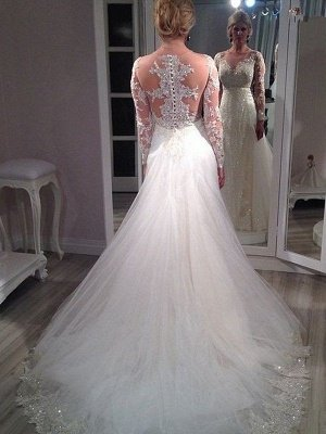 Sweep Train Tulle Cheap Long Sleeves A-Line V-neck Sequin Wedding Dresses UK_3
