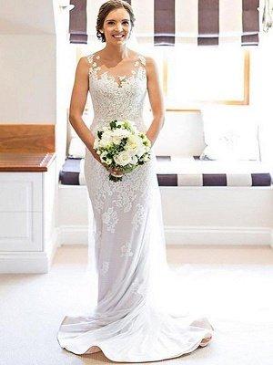 Sleeveless Sheath Scoop Neckline Lace Court Train Applique Wedding Dresses UK_1
