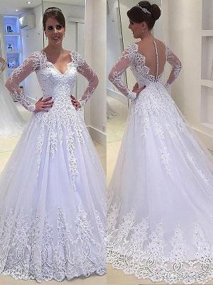 Court Train Long Sleeves A-Line Applique Tulle  V-Neck Wedding Dresses UK_1