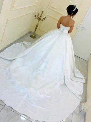 Cathedral Train Ball Gown Sleeveless Satin Ribbon Sweetheart Wedding Dresses UK_3
