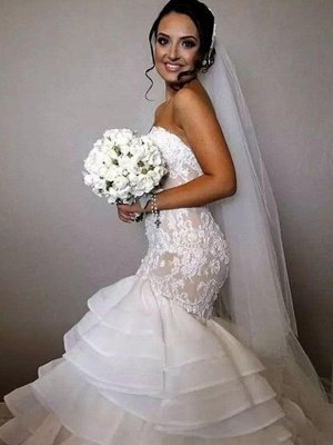 Organza Sleeveless Ruffles Sweetheart Applique Lace Sexy Mermaid Wedding Dresses UK_1