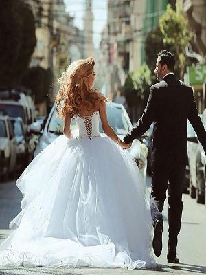 Court Train Beads Tulle Ball Gown Sweetheart Sleeveless Wedding Dresses UK_3