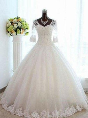 Floor-Length Tulle Ball Gown Beads  V-Neck 3/4 Sleeves Bateau Wedding Dresses UK_1