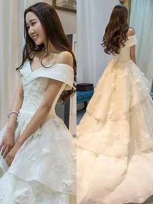 Sleeveless Off-the-Shoulder Ball Gown Court Train Tulle Cheap Wedding Dresses UK_1