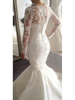 Tulle Applique A-Line Bateau Court Train Long Sleeves Wedding Dresses UK_3