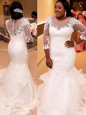 Lace  Sexy Mermaid Applique Court Train Tulle Cheap 3/4 Sleeves Wedding Dresses UK_3