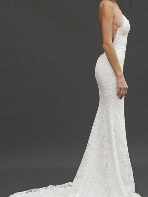 Court Train Sheath Spaghetti Straps Lace Sleeveless V-neck Wedding Dresses UK_4