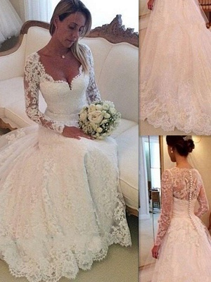 Tulle Cheap V-neck Ball Gown Long Sleeves Court Train Lace Wedding Dresses UK_1