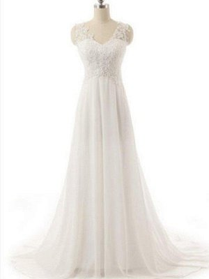 Sweep Train  A-Line Lace  V-Neck Sleeveless Wedding Dresses UK_1