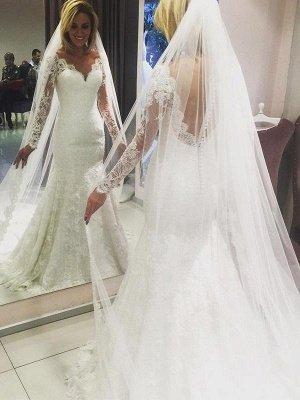 Long Sleeves Lace Sheath Sweep Train  V-Neck Wedding Dresses UK_1