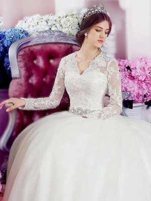 Cathedral Train Applique A-Line  V-Neck Lace Tulle Long Sleeves Wedding Dresses UK_1