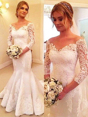 3/4 Sleeves  Sexy Mermaid Court Train Off-the-Shoulder Satin Lace Wedding Dresses UK_1