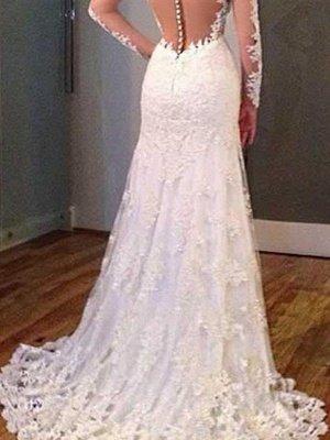 V-Neck Sweep Train Applique Lace Sexy Mermaid Long Sleeves Wedding Dresses UK_3