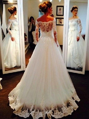 Long Sleeves Sweep Train Ball Gown Off-the-Shoulder Tulle Wedding Dresses UK_3
