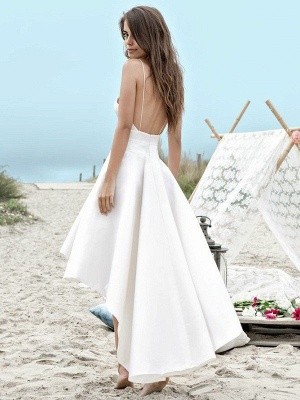 Sleeveless A-Line Asymmetrical Satin Spaghetti Straps Ruched Wedding Dresses UK_3