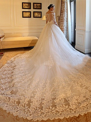 Tulle Ball Gown 3/4 Sleeves Beads Applique Cathedral Train Off-the-Shoulder Wedding Dresses UK_4