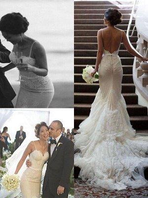 Court Train Lace Sleeveless Sexy Mermaid Tulle Spaghetti Straps Wedding Dresses UK_1