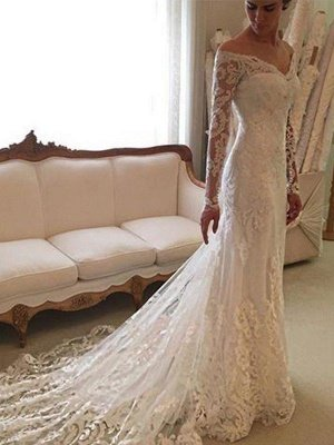 Off-the-Shoulder Court Train Sheath Lace Long Sleeves Wedding Dresses UK_1