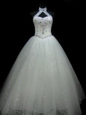 Sequin Ball Gown Sleeveless Floor-Length Beads Tulle Cheap Halter Wedding Dresses UK_1