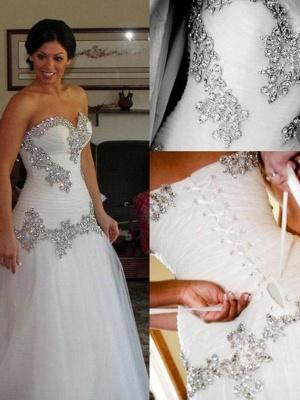 Tulle Cheap A-Line Sweetheart Floor-Length Rhinestone Sleeveless Wedding Dresses UK_3
