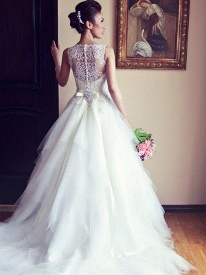 Lace Tulle A-Line Scoop Neckline Beads  Ribbon Applique Sleeveless Wedding Dresses UK_1