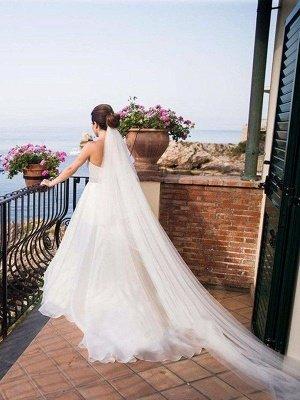 Sleeveless A-Line Sweep Train Sweetheart Tulle Beads Wedding Dresses UK_3