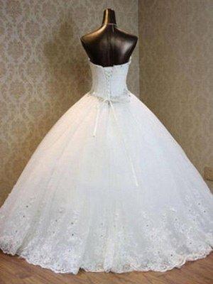 Tulle Ball Gown Floor-Length Sweetheart Beads Sleeveless Wedding Dresses UK_3