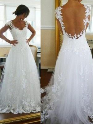 A-Line Sleeveless  V-Neck Sweep Train Lace Tulle Wedding Dresses UK_1