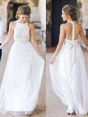 Floor-Length A-Line Ribbon Halter Tulle Sleeveless Wedding Dresses UK_4