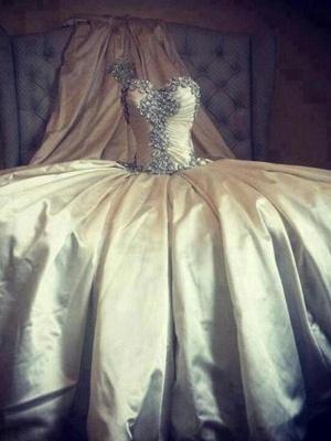 Cathedral Train Ruffles Ball Gown Sweetheart Taffeta Sleeveless Wedding Dresses UK_7