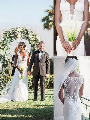 Sleeveless Sweep Train Sheath  V-Neck Tulle Wedding Dresses UK_1