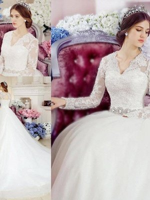 Cathedral Train Applique A-Line  V-Neck Lace Tulle Long Sleeves Wedding Dresses UK_3