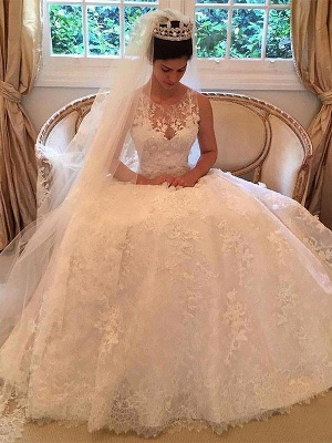 Scoop Neckline Sleeveless A-Line Lace Applique Court Train Wedding Dresses UK_2